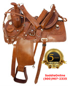 New 15 18 Fancy hand tooled leather Horse saddle [0429H]