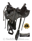 Black Gaited Western Endurance Horse Saddle 16 18 [0724G]