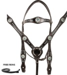 Black Blue Crystal Leather Barrel Racer Western Horse Tack Set