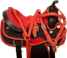 Red Black Crystal Cordura Western Horse Saddle Tack 14 [10060]