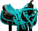 Teal Black Crystal Cordura Western Horse Saddle Tack 14 17 [10061]