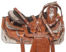 Lightning Bolt Silver Leather Show Horse Saddle Tack 16 [10197]