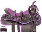 Purple Crystal Western Trail Light Horse Saddle Tack 14[10220]