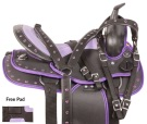 Purple Synthetic Western Trail Horse Saddle Tack 14 [10411]