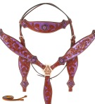 Purple Crystal Concho Western Horse Headstall Tack Set
