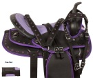Purple Ostrich Black Western Trail Horse Saddle Tack 14 [10522]