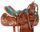 Blue Inlay Crystal Barrel Racing Western Horse Saddle 16 [10538] (Out Of Stock)