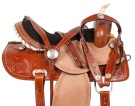 Crystal Hand Tooled Western Barrel Horse Saddle Tack 14 16 [10703]
