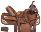 Pistol Silver Brown Western Trail Horse Saddle Tack 14 18