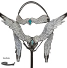 White Angel Wings Black Leather Cross Western Horse Tack Set