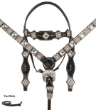 Black Crystal Leather Silver Buckle Style Western Horse Tack Set[10765]