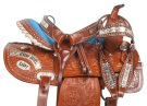 Blue Cowgirl Up Barrel Western Horse Saddle Tack 14 [10774W]