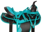 Teal Crystal Dura Leather Western Trail Saddle Tack 16