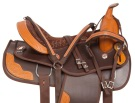 Tooled Brown Dura Leather Western Saddle Tack 15[10786]