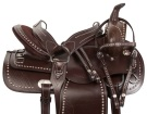 Brown Silver Studded Western Show Trail Horse Saddle 16 18 [10792]