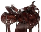 Hand Carved Brown Western Pleasure Horse Saddle Tack 18 [10804]