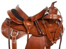 Tooled Western Leather Trail Endurance Horse Saddle 16