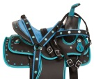 Blue Teal Western Pony Kids Synthetic Saddle Tack 10 13
