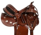 Tooled Pleasure Trail Mule Western Leather Saddle 14 16