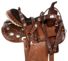 Crystal Western Leather Barrel Racing Horse Saddle 14