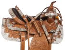 Beautiful Hand Carved Western Tan Show Horse Saddle 16
