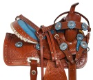 Blue Western Youth Leather Trail Pony Saddle Tack 12 [10837] (Out Of Stock)