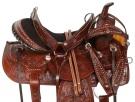 Dark Brown Tooled Western Barrel Trail Horse Saddle 16[10840]