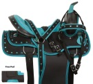 Turquoise Crystal Show Synthetic Western Saddle Set 14 18 [10845]