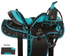 Turquoise Bling Western Synthetic Trail Horse Saddle 16""