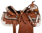 Silver Plated Western Tooled Leather Show Saddle Set 16""