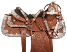 Hand Carved Silver Plated Western Horse Saddle Tack 16""