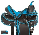 Blue Synthetic Light Weight Western Horse Saddle 14 18 [10854]