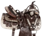 Dark Brown Silver Show Western Leather Horse Saddle 17 18 [10856]