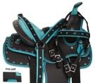 Turquoise Kid Seat Western Synthetic Horse Saddle Set 10 13[10902]