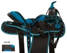 Two Tone Blue Western Synthetic Show Horse Saddle 14 18 [10961]