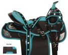 Light Turquoise Silver Western Pleasure Horse Saddle 14 18