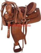 15 Western Basket Wave Tooled Saddle Tack Ranch Trail [1214] (Out Of Stock)