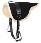 Black Leather Bareback Pad With Stirrups Girth [1535]