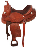 16 17 Leather Western Draft Horse Tooled Saddle [2008A] (Out Of Stock)