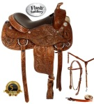 Hand Carved Western Trail Reining Saddle Tack Set 15 16[2077] (Out Of Stock)