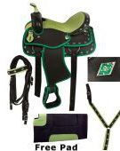 15 16 Green Ostrich Synthetic Western Show Saddle Tack Set [2085] (Out Of Stock)