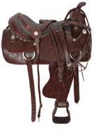Tooled Western Horse Pleasure Trail Saddle Tack 16 17 [2122]