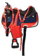 15 Red Blue Synthetic Western Trail Horse Saddle Tack [2502A]