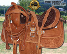 Hand Carved Western Pleasure Trail Barrel Saddle 15 [2909] (Out Of Stock)