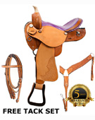 Barrel Racing Purple Ostrich Horse Saddle Tack 14 [2916A]