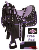 Purple Ostrich Synthetic Western Horse Saddle Tack 17[2952]