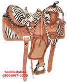 14 16 Zebra Western Horse Barrel Racing Saddle[2956F]