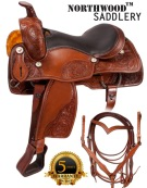 Western Pleasure Leather Horse Saddle Tack 15 18