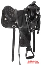 Black Western Trail Gaited Horse Leather Saddle 16 17 18 [3008]
