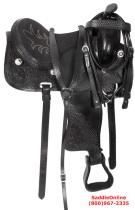 Black Western Trail Gaited Horse Leather Saddle 16 17 18[3008]